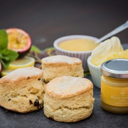 "Spring"" Citrus Scones with Lemon & Passionfruit Curd"