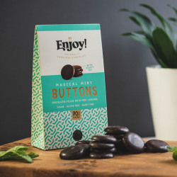 Organic Chocolate Buttons filled with Mint Caramel