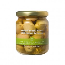 Moulins Mahjoub Natural Organic Meski Olives With Lemon and Fennel 125g