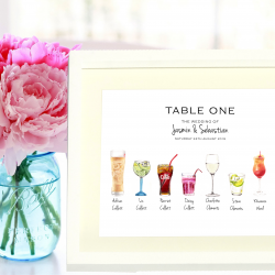 Wedding Table Name/ Number Personalised With All Your Guests' Favourite Tipples