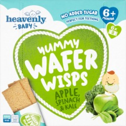 Heavenly Baby Yummy Wafer Wisps, Teething Wafers, Apple, Spinach & Kale (5 Pack)