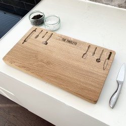 Personalised Oak Utensils Chopping Board