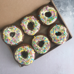 Vegan Chocolate & White Chocolate Doughnuts (Box of 6)