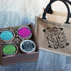 Cracking Nuts Gift Bag with Hand-Roasted Nuts Selection Box (4 Tubs)