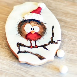 Hand Painted Christmas Robin Cookie Card