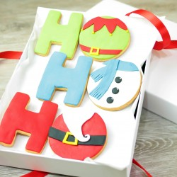 Hand Decorated Christmas Ho Ho Ho Biscuits Gift Box