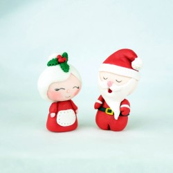 Personalised Edible Mr & Mrs Santa Cupcake Toppers