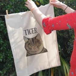 Personalised Cat Kitchen Tea Towel