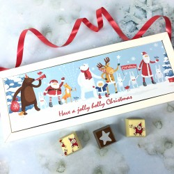 Personalised Christmas Chocolate Gift with Santa and Friends Image