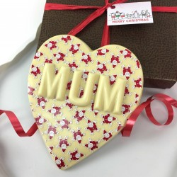 Personalised Chocolate Heart in White Chocolate with Santa Design