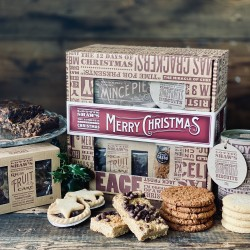 Gift Box of Christmas Treats with fruit cake
