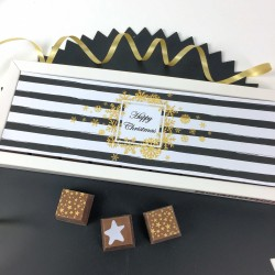 Personalised Christmas Chocolate Gift with Black & White Stripe Image