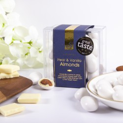 Vanilla & Pear Almonds- White Chocolate Coated Almonds with Unique Flavours. Cube Box