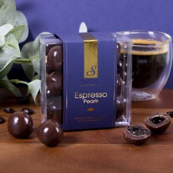 Espresso Pearls - Dark & Milk Chocolate with Liquid Coffee Core. Cube Box