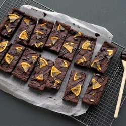 Orange & Cardamom Luxurious Brownie Tray - Vegan & Gluten Free (14 Slices)
