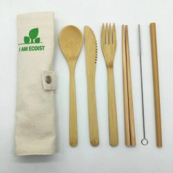 Reusable Bamboo Cutlery With Bag