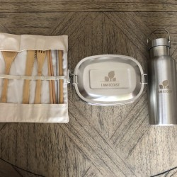 Plastic Free Reusable Lunchtime Essentials - Cutlery, Lunchbox, Bottle