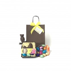 'Happy Easter' Gift Bag with Hen & Mini Eggs - Dairy Free
