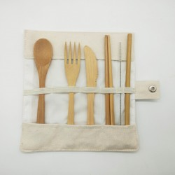 Reusable Bamboo Cutlery With Bag for Kids
