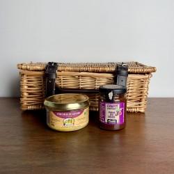 "French Foie Gras Gift Hamper in Classic 12"" Wicker Basket"