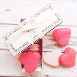 Champagne and Strawberry Valentines Heart Macarons Box of 5