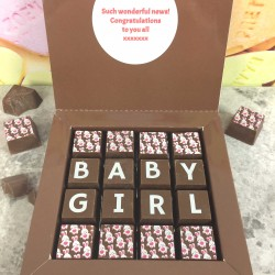 New 'Baby Girl' Personalised Message Chocolates