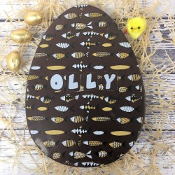 Large Personalised Dark Chocolate Easter Egg with Fish Design
