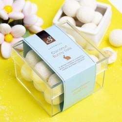 Hazelnut & Coconut Bunny Tails - Fresh Coconut infused white chocolate coated hazelnuts