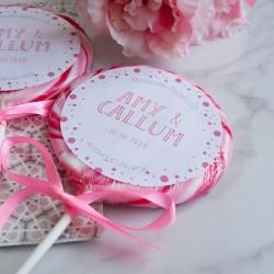 Personalised Polka Dot Wedding Favour Giant Lollipops