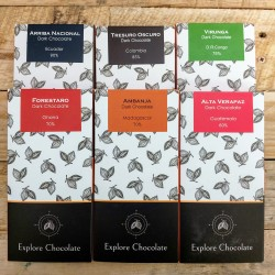 Vegan Handmade Single Origin Chocolate Bar Selection 6 Pack