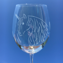 Personalised Wine Glass - Unicorn Engraving