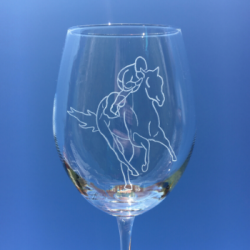 Personalised Wine Glass - Horse Racing Engraving