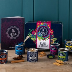Happy Birthday Gift Hamper - Contains 5 Indian Spices, an Indian Cookbook and a Cooks Candle