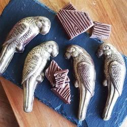 4 Gold Vegan Chocolate Parakeets