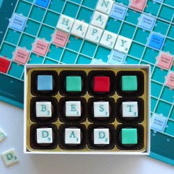 Spell it out! - personalised chocolates decorated with Scrabble style letter tiles