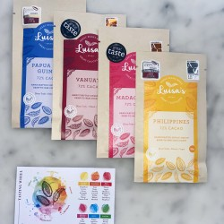 Award-Winning Single Origin Bean-to-Bar Dark Chocolate Bundle (4 Bars) | Plant Based | Vegan | Ethical | Plastic Free & Compostable