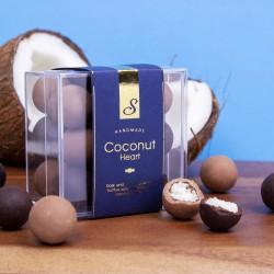 Coconut Heart. Fresh Coconut In Milk And Dark Chocolate