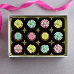 Pastel Daisies - handmade marzipan chocolates with optional on choc personalisation