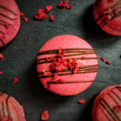 Sparkling Raspberry Macarons