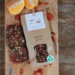 3 Packets of Orange and Goji Chocolate Discs (fully home compostable packets)