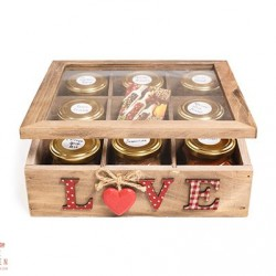 Wooden Spice Box with 8 International Spice Blends & Masala Chai