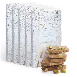 Gift Set of 5 White Chocolate Bars with Pistachios and Himalayan Salt