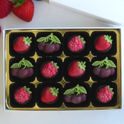 Summer Tastes - fruit decorated chocolates with marzipan, flavoured marzipan or fondant filling
