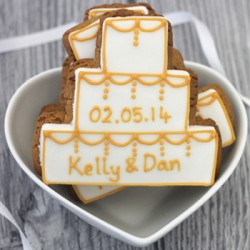 Personalised Gold Wedding Cake Biscuits (Pack of 24)