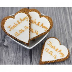 Personalised Gold Wedding Heart Biscuits (Pack of 24)