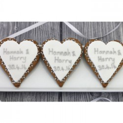 Personalised Silver Heart Wedding Biscuits (Pack of 24)