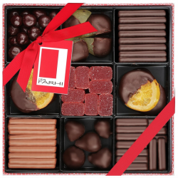 Belgian Chocolate Fruit Selection in a Nine-Way Gift Box