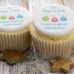 Personalised Christmas Cupcake Toppers (Pack of 12)