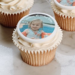 Personalised Photo Birthday Cupcake Toppers (Pack of 12)