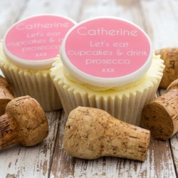Personalised Prosecco Cupcake Toppers (Pack of 12)